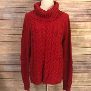 Cable knit turtleneck / cowl neck sweater
